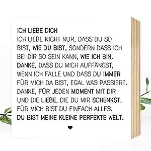 Wunderpixel® Holzbild Ich liebe Dich - Liebeserklärung - 15x15x2cm zum Hinstellen Aufhängen, Spruch - schwarz-weißes Holz-Schild Bild Poster Aufsteller Deko Wohnung Geschenk Mitbringsel Geburtstag