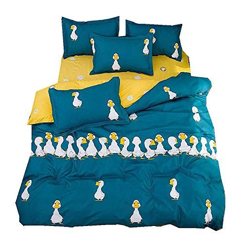 Bettwäsche Set Whale Duck Welpen Eisbär Kätzchen Monster Muster 4 Stück Bettbezug-Set Einzelbett Doppelbett Stück Polyester-Baumwolle Bettbezug-Set Einzelbett Doppelbett (Ente, 220x240cm) (Enten Bettwäsche-sets)