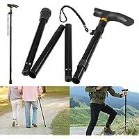Thlevel Bastón Plegable Pliegue de Aluminio Ligero Bastón para Caminar de bastón no Deslizante Unisex para excursiones de Trekking