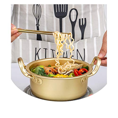 Olla JXLBB Instant Noodle Pot Artifact Noodles Cantina Pequeña Golden Yellow Aluminum Ramen Soup Pot Pot Small Pot Pan Amarillo Aluminio Estufa de Gas Cocina de inducción (Tamaño : Metro)