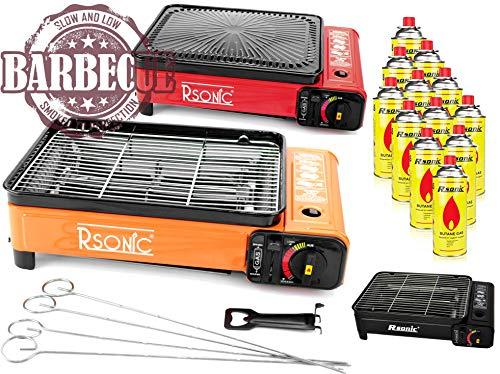 XXL Campingkocher Gaskocher Tragbarer Gaskocher RS-4030 Gasgrill Gasbrenner (Kocher mit 12 Kartuschen)