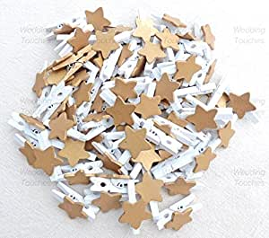 25pcs 30mm Mini White Clothes Pegs with 18mm Gold Stars Craft For Shabby Chic Wedding & Christmas