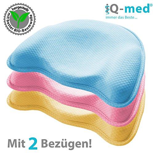 Babykissen >PREMIUM< von iQ-med® | Baby-Kissen aus BIO-Baumwolle gegen Verformung und Plattkopf | mit optimaler Form | aus viskoelastischem Schaum | Kinder-Kissen, Kopf-Kissen für Säugling, Plagiozephalie, Memory-Schaum, Kissen für Neugeborene (Blau) (Voll-memory-schaum)
