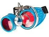 MFAZ Morefaz Ltd Schutzbrille Schweißen Sonnenbrille Welding Cyber Goggles Steampunk Goth Round Cosplay Brille Party Fancy Dress (Blue Loupe)