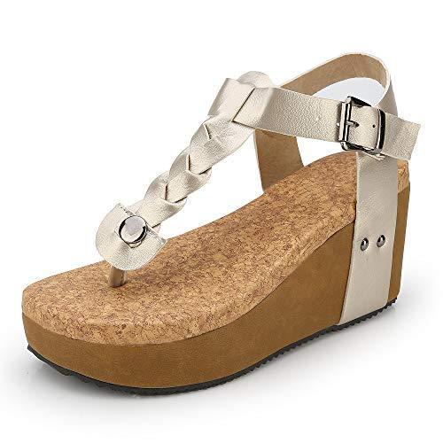 Sandalias Mujer Cuña Alpargatas Plataforma Bohemias Romanas Flip Flop Mares Playa Gladiador Verano Tacon Planas Zapatos Zapatillas Negro Beige 35-43 BG43