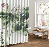 ALSTONXIN Duschvorhänge Blooms Lotus Blume Teich Rosa Weiß Bad Vorhang 48