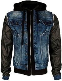 Cipo & Baxx Herren 2in1 Jeansjacke Leder Jacke C-1290 Blau-Schwarz