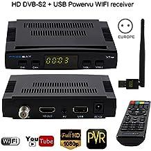 Rokoo Decodificador de receptor de TV por satélite Rokoo Freesat V7 HD DVB-S2 + USB Powervu WIFI Soporte completo Cuenta de CCCam