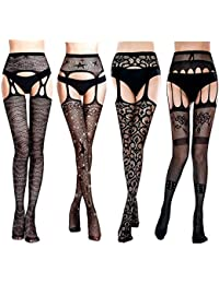 af4f84753d5f2 4 Pairs Fishnet Stockings Woman's Black Lace Fishnet Leggings Tights Net  Pantyhose Top Thigh-High