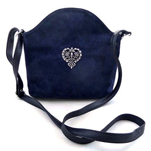 Dunkelblaue Trachtentasche Dirndltasche Umhängetasche Wildleder mit Herz
