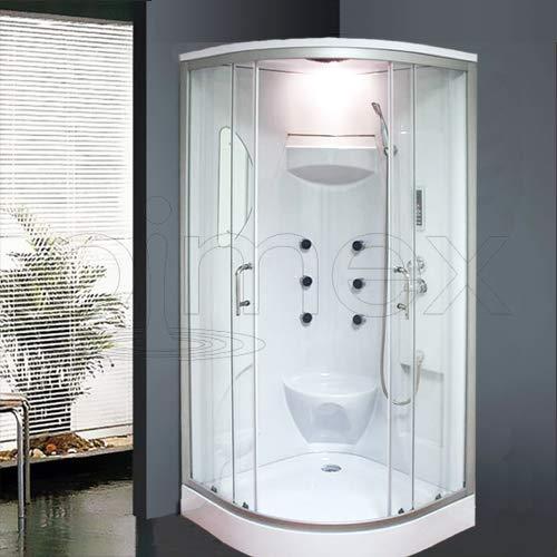 """OimexGmbH Duschtempel Set\""""Lorene\"""" inkl Radio LED Licht Duschkabine 100 x 100 x 215 cm mit Armaturen Massagefunktion Dusche Sicherheitsglas (ESG)"""