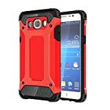 Skitic Etui Housse Coque Anti Choc pour Samsung Galaxy J5 2016 (SM-J510F), 2 en 1 Hybride Armour Case TPU + PC Incassable Back Cover Rigide Coque de Protection pour Samsung Galaxy J5 2016 Smartphone - Rouge