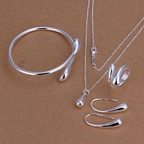 STOREINBOX New Fashion Solid Silver Jewelry Sets Necklace+Bracelet+ Ring +1 Pair Earrings by SIB