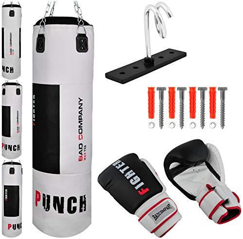 Bad Company Box-Set I Boxhandschuhe und Boxsack gefüllt inkl. Heavy Duty Vierpunkt-Stahlkette und Deckenhalterung I 80/100/120/150/180 x 35 cm - Weiß