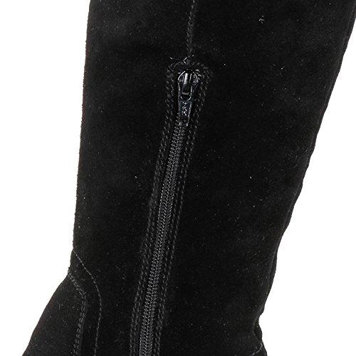 ALESYA by Scarpe&Scarpe - Bottes au-dessus du genou avec boucle, en Suède Noir