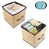 HomeStorie™ Foldable Natural Bamboo Cube Storage Basket Bins Organizer, Pack of 2