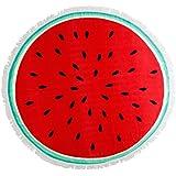 Superb Grande Redondo Super Suave sandía Imprimir toalla de playa con borde de Frilly