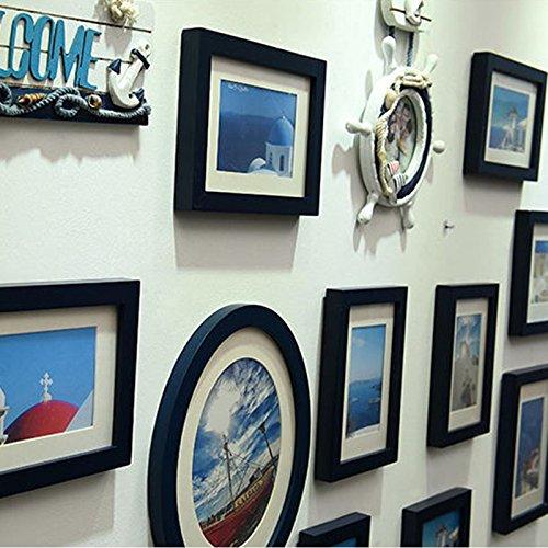 X&L Mittelmeer Europäische Classic Foto Wand kreativ Home Dekoration Handarbeit Holz Foto , deep blue - 4