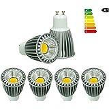 ECD Germany 4 x GU10 COB Spot 9W HI-POWER lámpara ahorro de energía aprox. 552 lúmenes reemplaza 60W lámpara halógena 60º ángulo de radiación blanco neutro 4000K