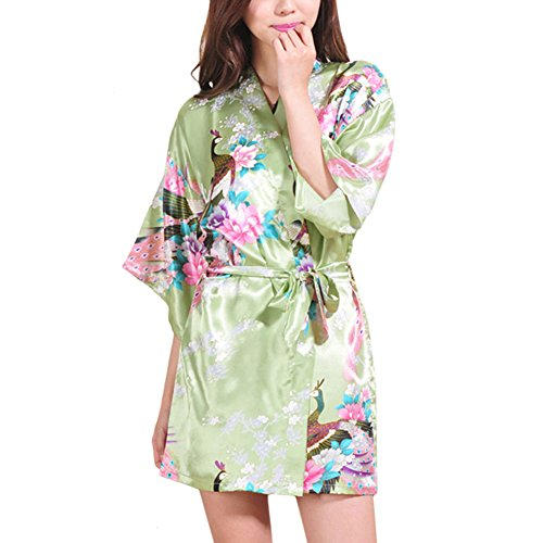 Für Halloween Kostüme Männer Asian (Waymoda Women Luxury Silky Satin Evening Dressing Gown, Ladies Peacock and Blossoms Pattern Kimono Pajamas, 10+ Color, 4 Sizes Optional - Short)