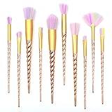Qivange Ensemble de brosses de maquillage Brosses de maquillage Fond de teintures d'ombre Brosses de mélange Poudre Correcteur Ensemble de brosses de ventilateur à contour (10pcs, Golden)