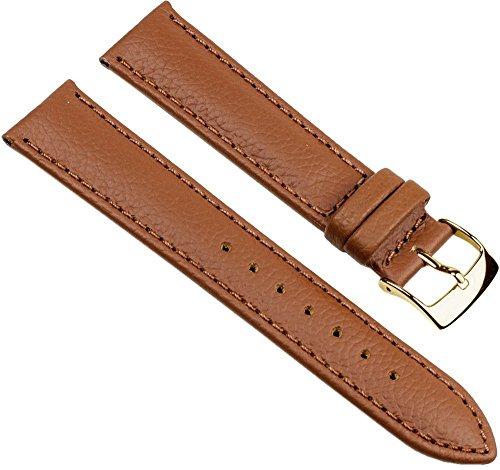 Eulit Fancy Classic Ersatzband Uhrenarmband Rindsleder Band Goldbraun 25461G, Stegbreite:20mm