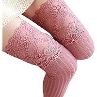 Calcetines térmicos Mujer Invierno �� Mujer niña Invierno Calcetines Sobre Rodilla Calentador de piernas Calcetines Legging de algodón Suave Medias Encaje Calcetines de Yesmile