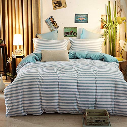 Aqua Bettbezug (zhimian wendbar 3Stück Gestreift Print Bettbezug Set mit Reißverschluss (1Bettbezug + 2Kissenbezüge:), Ultra Weich, Mikrofaser, aqua, Twin)