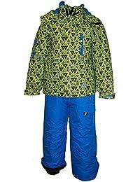 Outburst - Garçons Snowsuit combinaison de ski imperméable à l'eau réfléchissante, vert-bleu