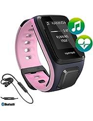 TomTom Spark GPS Multi-Sport Fitness reloj, color azul/rosa, música + ritmo cardiaco + auriculares