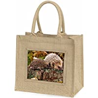 Mother and Baby Hedgehog Large Natural Jute Shopping Bag Christmas Gift Idea