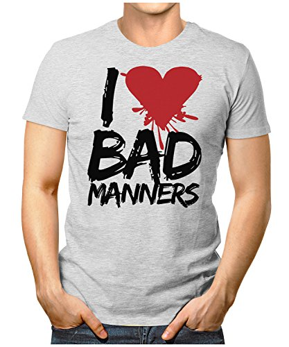 PRILANO Herren Fun T-Shirt - I-LOVE-BAD-MANNERS - Small bis 5XL - NEU Grau Meliert