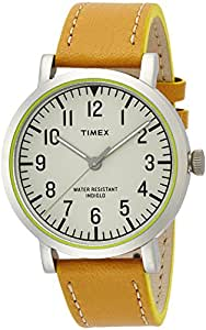 Timex Unisex Quartz Watch with White Dial Analogue Display and Brown Leather Strap T2P505