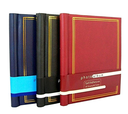 "Leather Effect Photo Album 40 pages self adhesive 8/"" x 11/"" sheets Black Blue Red"