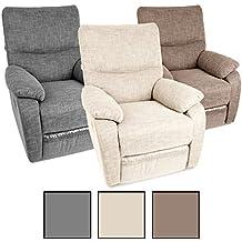 Fernsehsessel TV Sessel verstellbar Relaxsessel Liegesessel Polstersessel Stoff (Beige)