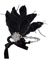 Babeyond Frauen Kristall Stirnband Große Gatsby Mottoparty Abschlussball Feder Haar-Zusätze Hochzeit Haarband Schwarz