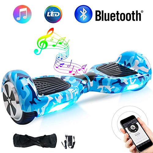 Windgoo Hoverboard Bluetooth 6,5 Pouces Gyropode Hoverboard Enfant, Hover Board Auto-Equilibrage Skateboard 700W Moteurs, Luces LED Auto Balance Scooter