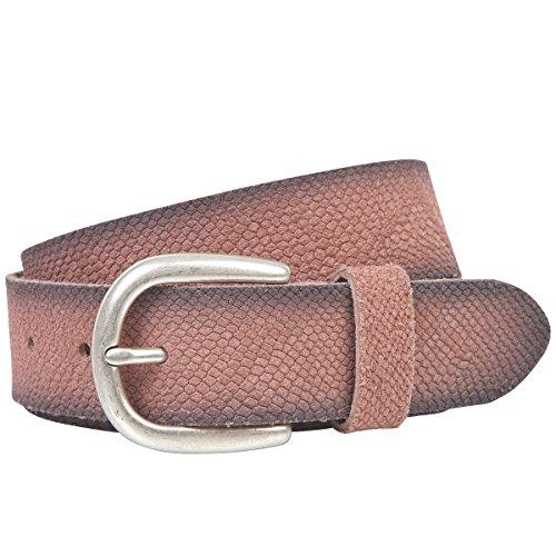 LINDENMANN The Art of Belt Ledergürtel Damen/Gürtel Damen, Rindledergürtel mit Python-Print, old pink, Größe/Size:85, Farbe/Color:rosa Python Print Belt