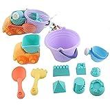 YunNasi Set di Giocattoli da Spiaggia Giocattoli 11 Pezzi Kit di Muffa del Castello di Sabbia per i Bambini con Borsa a Rete ,Colori Assortiti