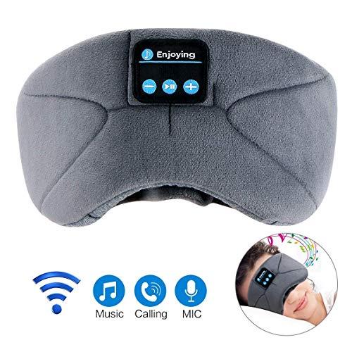 Schlafmaske mit Bluetooth,LC-dolida Augenmaske mit kopfhörern Eye Mask Sleep für Reisen mit Dem Flugzeug Schlafen Maske mit Bluetooth Headset für iPhone, Android Handys, iPad, Tabletten (Grau)