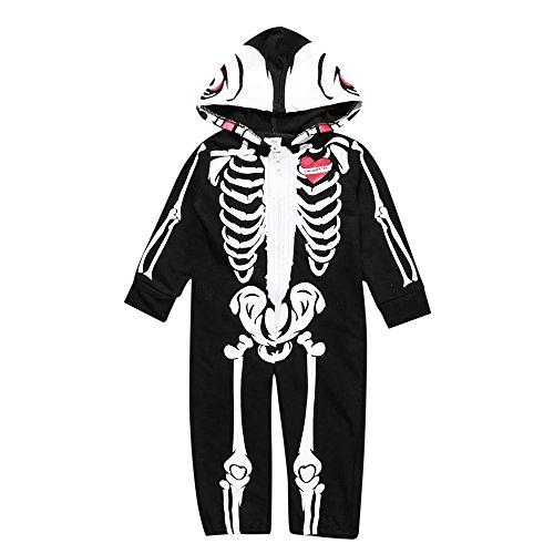 Weant Halloween Kostüm Baby Jungen Mädchen Neugeborenen Bodysuit Halloween Costume Kapuzenschädel Skeleton Spielanzug Zipper Overall Outfit (0-6 monate, (Niedliche Halloween Symbole)