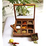 Ryka Wooden Spice Box/Wooden Masala Box/Wooden Utility Masala Box/Glass Top/Made Of Finest Wood/Quality Assured
