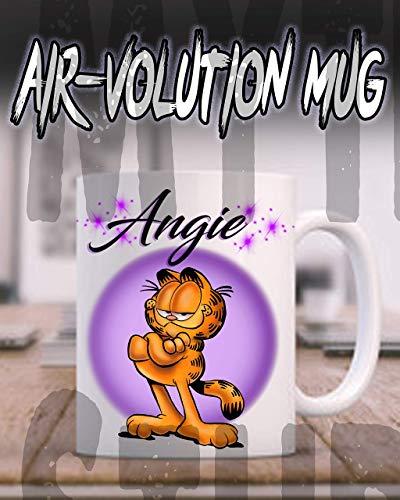 Mythic Airbrush Personalisierte Airbrush Garfield Keramik-Kaffeetasse Weiß -