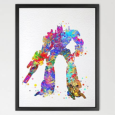 dignovel Studios Optimus Prime Transformer Autobots Aquarell Art Print Wall Art Poster Kids Room Decor Wand aufhängen Geburtstag Geschenk Jungen Raum Play n317-unframed
