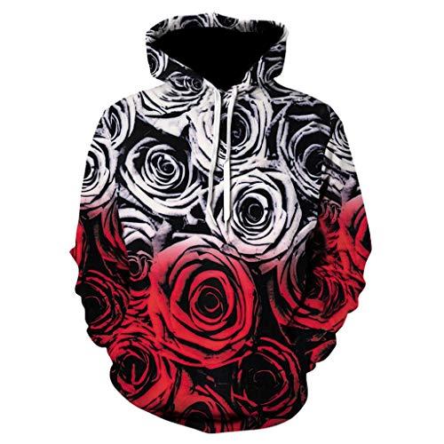 ◆Elecenty◆ Jungen Mädchen 3D Hoodie Kapuzenpullover 3D-Rosendruck Hoodies Damen Pullover Elegant Herbst Fleece Mantel Shirt -