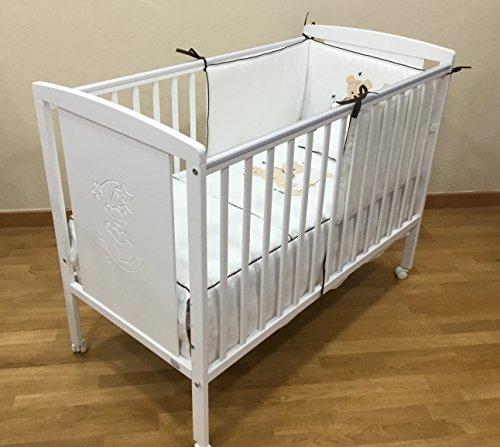 Imagen para Cuna para bebé, modelo Oso Dormilón + Colchón Viscoelástica + edredón y chichonera Beig (caja musical de regalo)