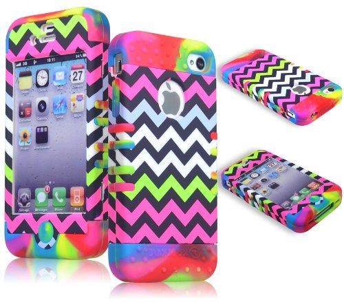 Bastex bastexwireless ibrido di custodia per Apple iPhone 4, 4S - colorate in silicone con fascetta di Colore brillante dura Chevron design Cover