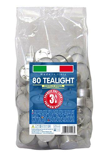 Cereria di Giorgio Risthò Tealight con Cup, Cera, Bianco, 3.6x3.6x1.7 cm 80 unità