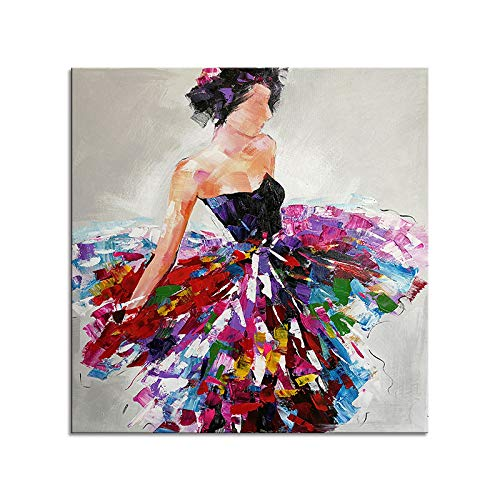 WSNDGWS Figura Abstracta Moderna Pura Pintada a Mano Pintura Decorativa al óleo Hotel Pintura Decorativa Junto a la Cama