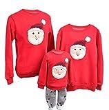 YaoDgFa Ugly Weihnachts Pullover Sweatshirt Weihnachten Xmas Sweater Kapuzenpullover Familie Bekleidung Damen Herren Kinder Weihnachtsmann Schneemann mit Rentier,  Höhe:80-95cm, #02 Rot